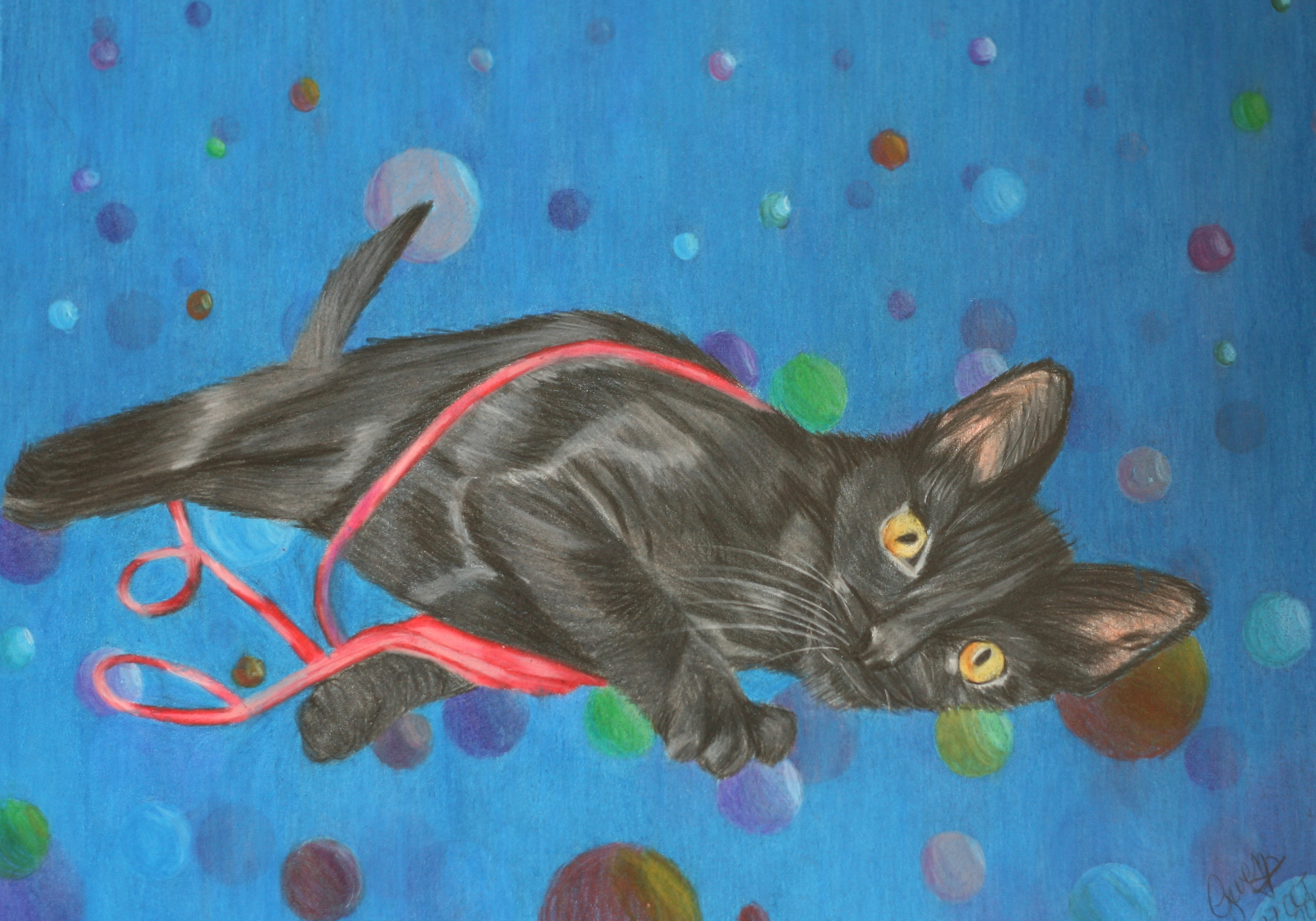 Full photo of the colored pencil drawing of Evening, my kitten