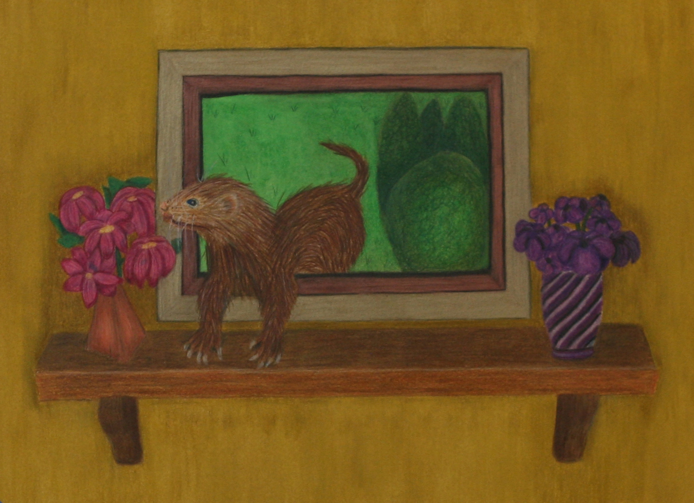 ferret coming out of picture frame to sniff flower purple vase