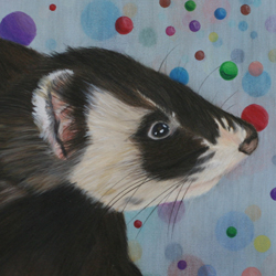 Colored pencil drawing of a picture of Rexxar, a sable ferret
